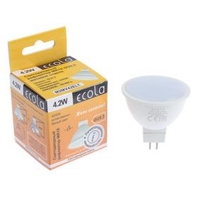 Лампа светодиодная Ecola, MR16, 4,2 Вт,  220 В, GU5.3, 4200 K, матовое стекло, 47x50