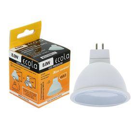 Лампа светодиодная Ecola, MR16, LED Premium, 8,0 Вт,  220 В, GU5.3, 4200 K, 48x50