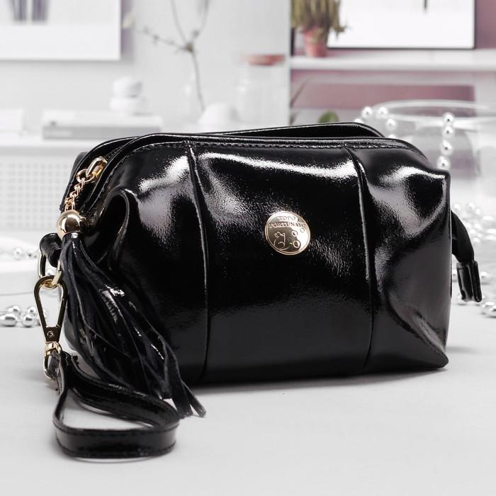 Косметичка-сумочка на молнии, 1 отдел, с ручкой, цвет чёрный