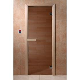 """Дверь для бани и сауны стеклянная """"Бронза"""", 190×70см, 6мм"""