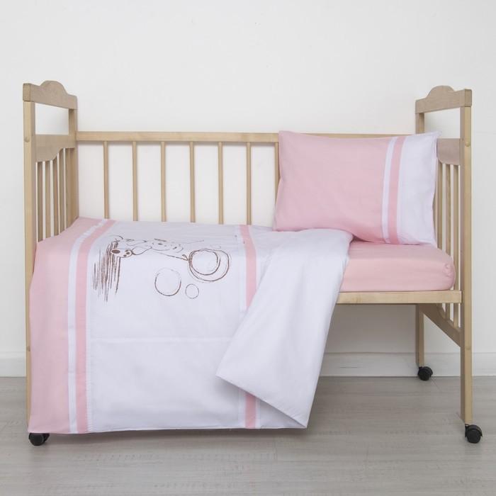"""Детское постельное бельё """"Шоколадный мишка"""", цвет розовый"""