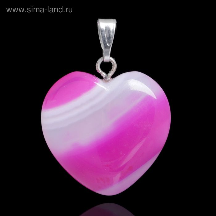 """Подвеска сердце """"Агат розовый"""""""