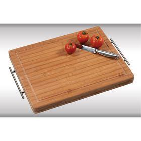 Доска разделочная Kesper, 49,5 х 35 х 4 см, с металлическими ручками, бамбук
