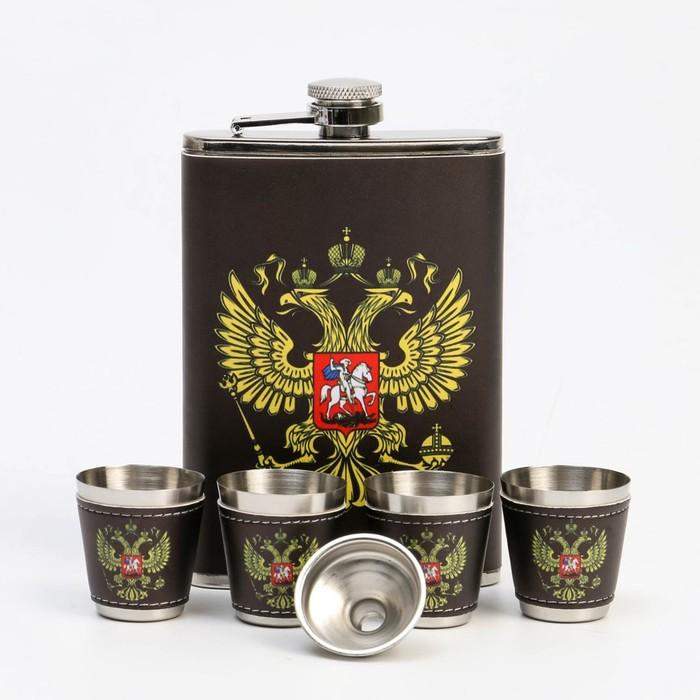 """Подарочный набор 6 в 1 """"Россия"""": фляжка 270 мл + 4 рюмки, воронка"""