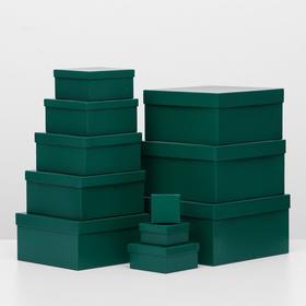 """Набор коробок 11в1 """"Зелёный"""", 25,5 х 25,5 х 13 - 5,5 х 5,5 х 2,5 см"""