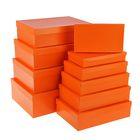 """Набор коробок 10в1 """"Оранжевый"""", однотонные, 36,5 х 26,5 х 12 - 23 х 13 х 3 см"""