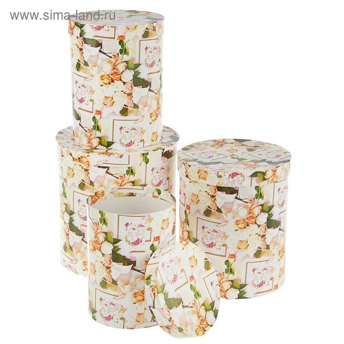 """Набор коробок 4в1 """"Свадьба мелкие розы и 2 кольца"""", 23 х 23 х 25 - 15 х 15 х 20 см"""
