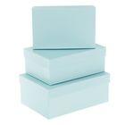 """Набор коробок 3в1 """"Голубой"""", 23 х 16 х 9,5 - 19 х 12 х 6,5 см"""
