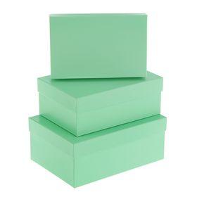 "Набор коробок 3 в 1 ""Салатовый"", 23 х 16 х 9,5 - 19 х 12 х 6,5 см"