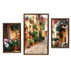 """Модульная картина в раме """"Улица в цветах"""", 20×35 — 2, 30×50 — 1, 50×70 см"""