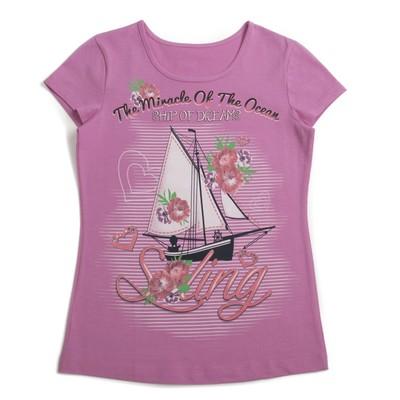 Футболка для девочки, рост 104 см, цвет розовый МИКС, арт. Л522