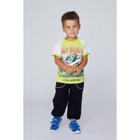 Футболка для мальчика, рост 116 см, цвет лайм/белый Н006