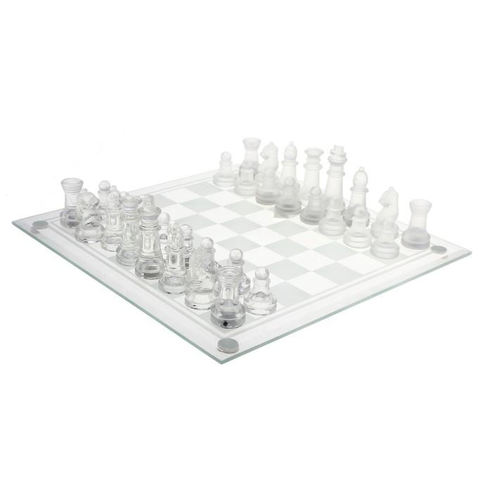 Шахматы стеклянные, прозрачное поле, 24х24 см