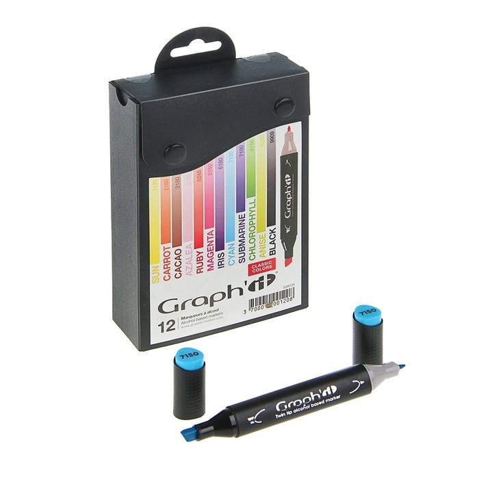 Маркер художественный набор GRAPH'IT 12 цветов Classic (двухсторонний: пулевидный/скошенный) основные цвета