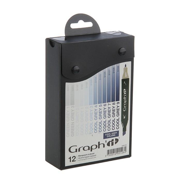 Маркер художественный набор GRAPH'IT 12 цветов Cool Greys (двухсторонний: пулевидный/скошенный) серый холодный