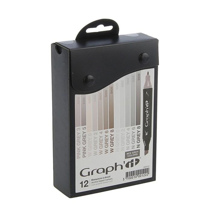 Маркер художественный набор GRAPH'IT 12 цветов Mix grey (двухсторонний: пулевидный/скошенный) серые цвета