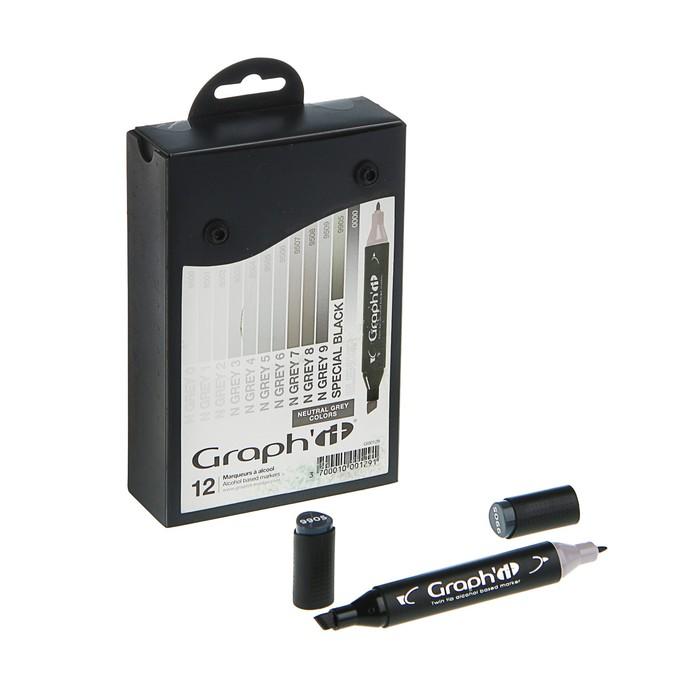 Маркер художественный набор GRAPH'IT 12 цветов Neutral Greys (двухсторонний: пулевидный/скошенный) серый нейтральный