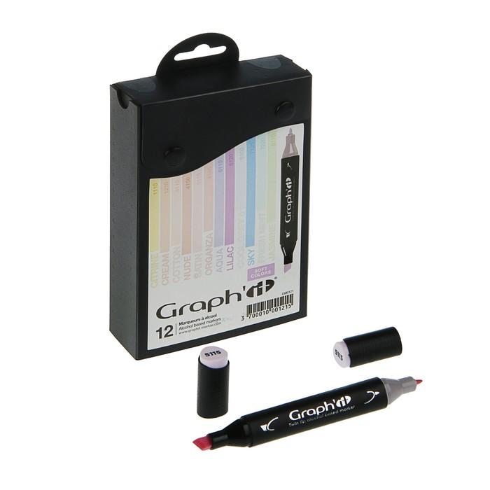 Маркер художественный набор GRAPH'IT 12 цветов Pastels (двухсторонний: пулевидный/скошенный) пастельные цвета