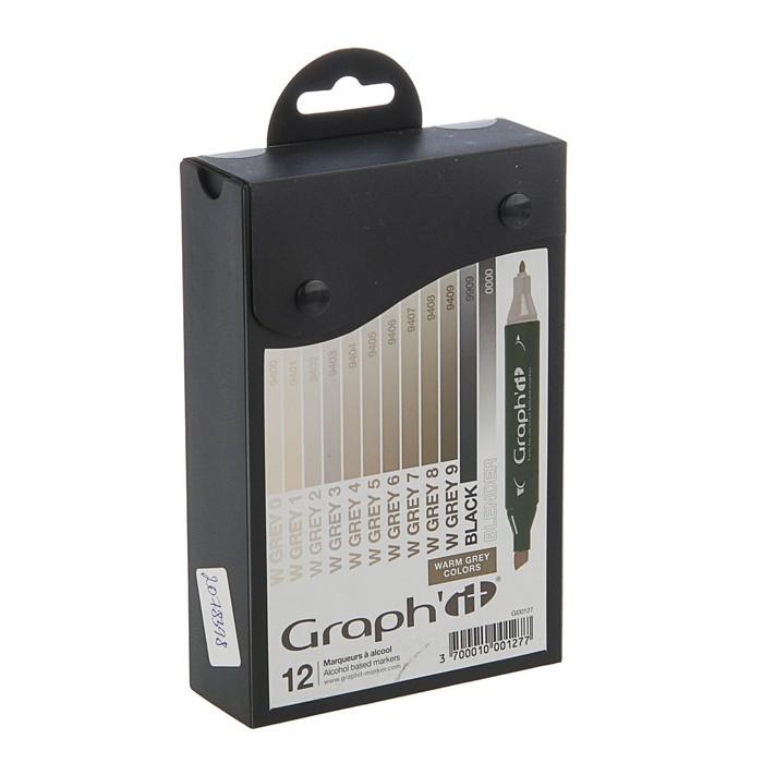 Маркер художественный набор GRAPH'IT 12 цветов Warm Greys (двухсторонний: пулевидный/скошенный) серый теплый