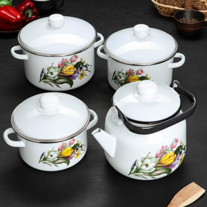 """Набор кухонный """"Крокусы"""" 4 предмета: кастрюли 2 л, 3 л, 4,5 л, чайник 3,5 л"""