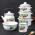 """Набор посуды """"Лесная ягода"""" 6 предметов: 2 л, 3 л, 4 л, чайник 3,5 л, миска 2,5 л, кружка 1 л"""