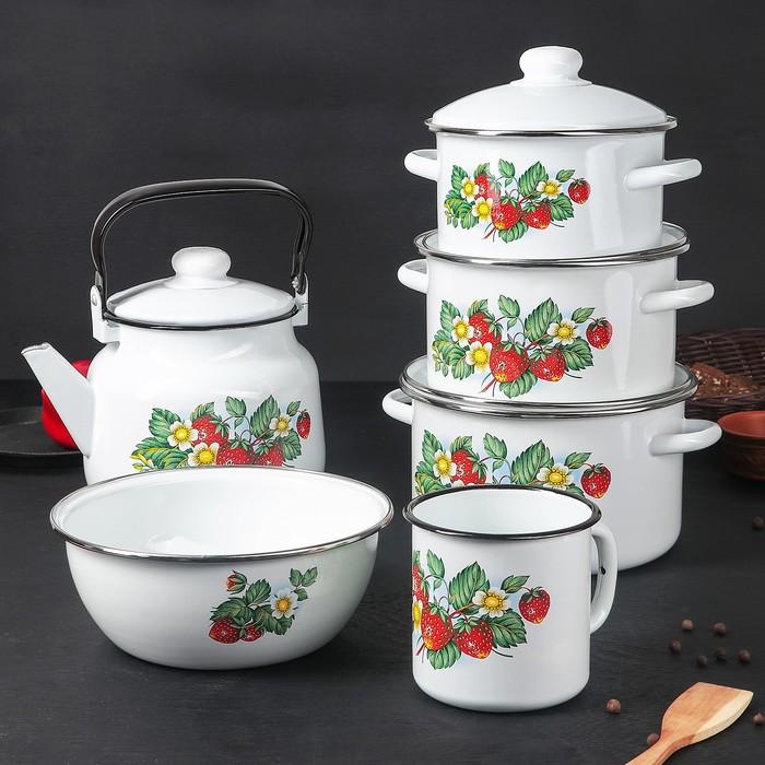 Набор посуды «Лесная ягода» 6 предметов: 2 л, 3 л, 4 л, чайник 3,5 л, миска 2,5 л, кружка 1 л