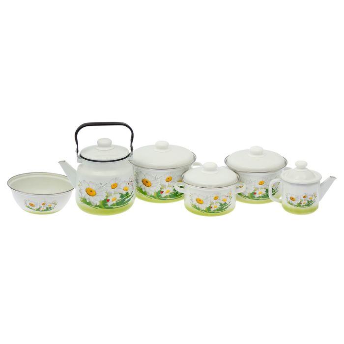 Набор посуды «Летняя мечта», 6 предметов: 2 л, 3 л, 4 л, чайник 1 л, 3,5 л, миска 2,5 л