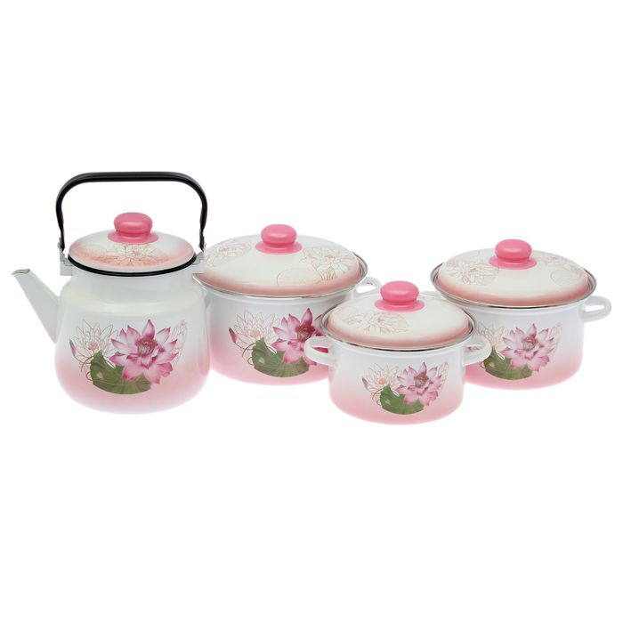 Набор посуды «Полесье» 4 предмета: кастрюли 2 л, 3 л, 4 л, чайник 3,5 л