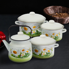 """Набор посуды """"Ромашковое поле"""", 4 предмета: кастрюли 2 л, 3 л, 4 л, чайник 3,5 л"""