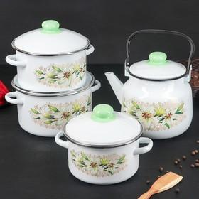 Набор кухонный «Белая лилия», 4 предмета: кастрюли 2 л, 3 л, 4 л, чайник 3,5 л