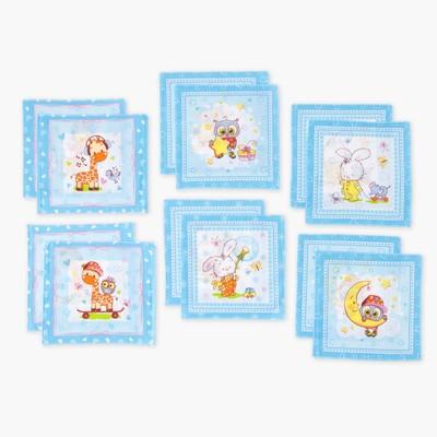 Платки носовые детские Этель 20х20 см, (набор 12 шт.) Зверята, рисунок МИКС, 100% хлопок