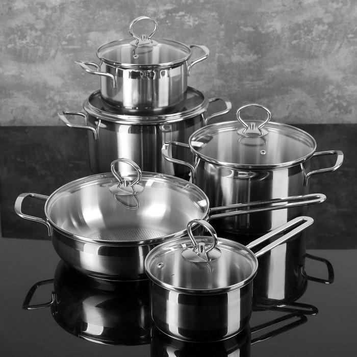 """Набор посуды """"Лотос. Классика"""" 5 предметов: кастрюли 1,8 л, 3 л, 4 л, ковш 1 л, сковорода 2,8 л, капсульное дно, стеклянные крышки"""