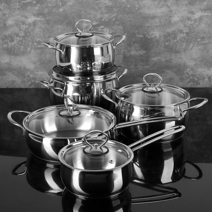 """Набор посуды """"Магнолия. Классика"""" 5 предметов: кастрюли 2,5 л, 3,5 л, 4,5 л сковорода 3 л, ковш 1,2 л, капсульное дно, стеклянные крышки"""