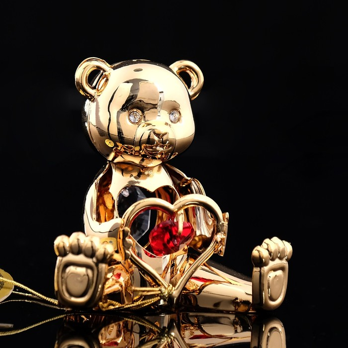 Сувенир «Мишка с сердцем», с кристаллами Сваровски