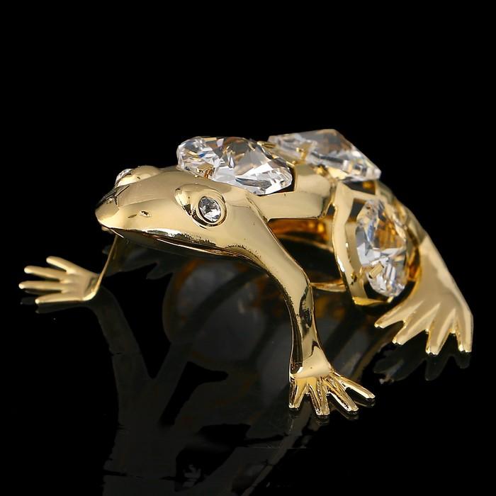 Сувенир «Лягушка», 5×6×3 см, с кристаллами Сваровски
