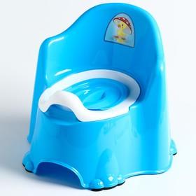Горшок детский антискользящий «Комфорт» с крышкой, съёмная чаша, цвет голубой
