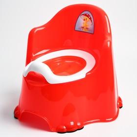 Горшок детский антискользящий «Комфорт» с крышкой, съёмная чаша, цвет красный