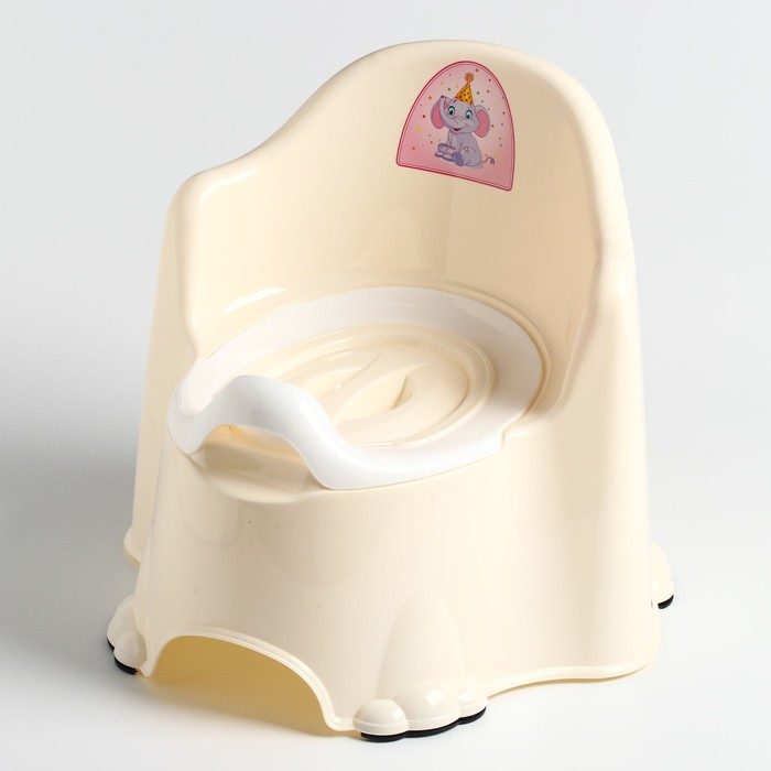Горшок детский антискользящий «Комфорт» с крышкой, съёмная чаша, цвет кремовый