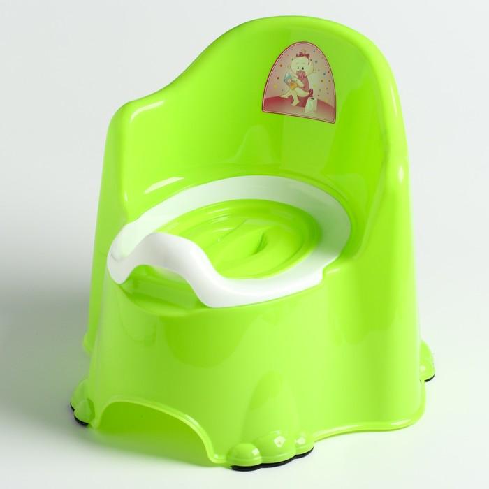 Горшок детский антискользящий «Комфорт» с крышкой, съёмная чаша, цвет салатовый