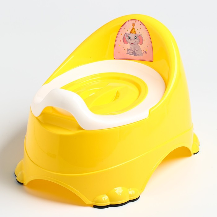 Горшок детский антискользящий «Бэйби-Комфорт» с крышкой, съёмная чаша, цвет жёлтый