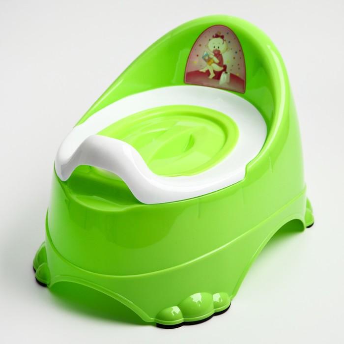 Горшок детский антискользящий «Бэйби-Комфорт» с крышкой, съёмная чаша, цвет салатовый
