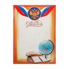 Диплом школьный, глобус, символика РФ