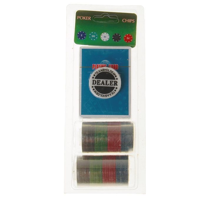 Набор для покера Poker Chips: колода карт 54 шт., 48 фишек, в блистере