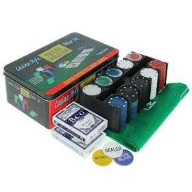 Покер, набор для игры (карты 2 колоды, фишки 200 шт б/номин, сукно 60х90 см) микс