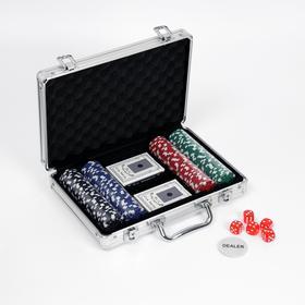 Покер в металлическом кейсе (карты 2 колоды, фишки 200 шт б/номин.,5 кубиков), 20.5х29 см микс