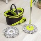 Набор для уборки: ведро на колёсиках с металлической центрифугой 18 л, швабра, запасная насадка из микрофибры, 2 дозатора, цвет МИКС - фото 4644052
