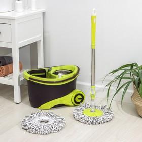 Набор для уборки: ведро на колёсиках с металлической центрифугой 18 л, швабра, запасная насадка из микрофибры, 2 дозатора, цвет МИКС - фото 4644061