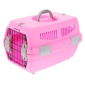 """Переноска пластиковая """"Неон"""", 48 х 32 х 29,5 см, вес животного до 5 кг, розовая"""