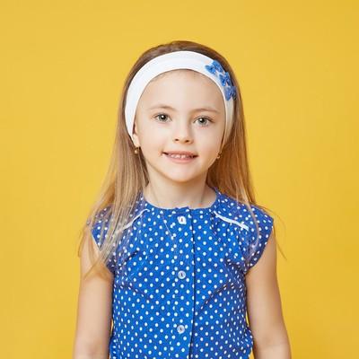 Повязка на голову для девочки, размер 50-51, цвет белый/синий 30088021025.180_М
