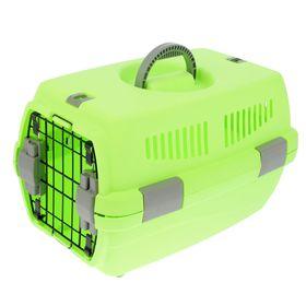 """Переноска пластиковая """"Неон"""", 48 х 32 х 29,5 см, вес животного до 5 кг, зеленая"""